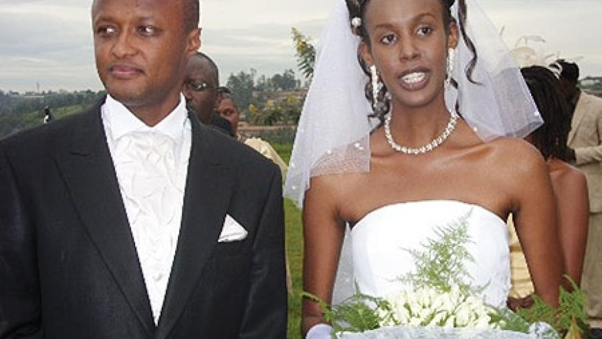 Gatete and wife Aline Hakizamungu after tying the knot on Saturday.