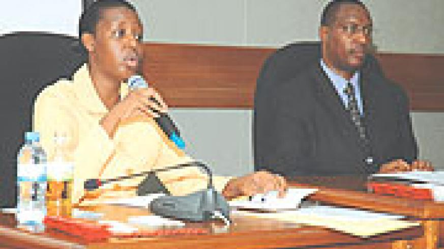 CNLS boss Dr Anita Asiimwe and Youth Minister Protais Mitali at the function yesterday. (Photo/ F. Goodman)