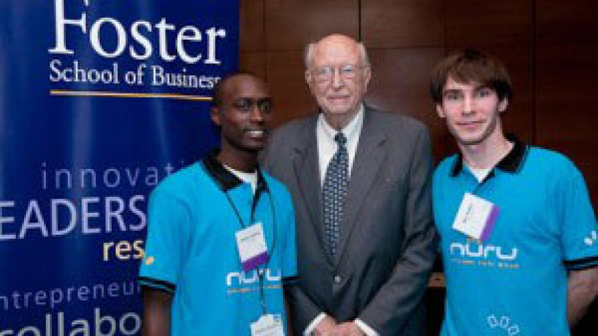 (L-R) Charles Ishimwe, Bill Gates, Sr. and Max Fraden at the Prize Ceremony in Seattle, USA.