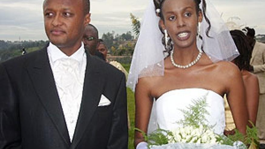 Gatete and wife Aline Hakizamungu after tying the knot.