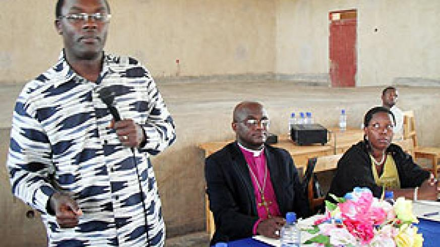 Governor Fidele Ndayisaba addressing Anglican religious leaders in Shogwe Diocese. (Photo / D. Sabiiti)