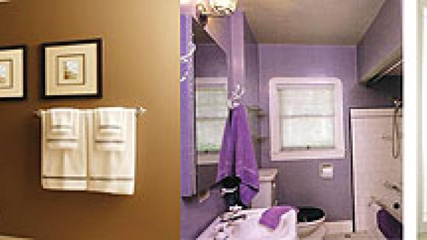 L-R : The floor and walls should have a sense of continuity in colour and choice of materials ; Use hooks as an effective way of hanging towel ; Complete the bathroom by hanging a mirror to bring in more light into the room
