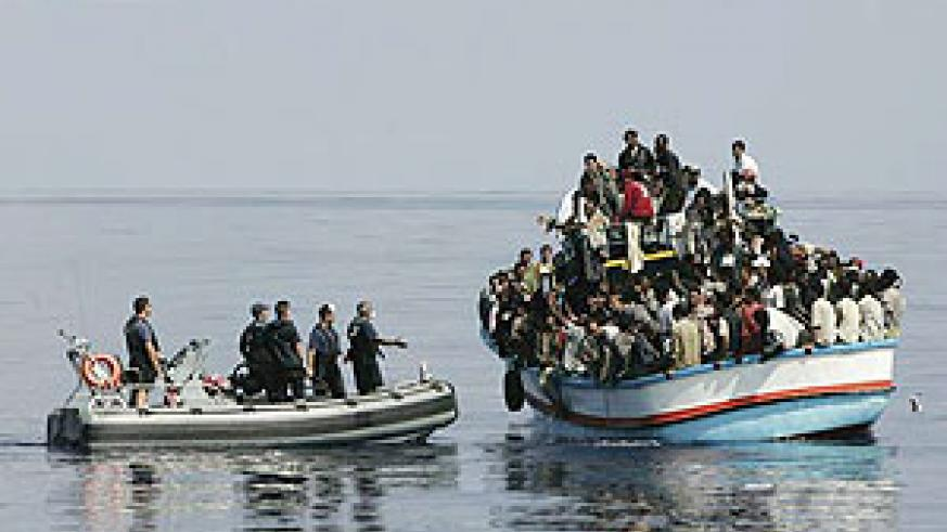 Illegal immigrants caught by the Italian coastguard.