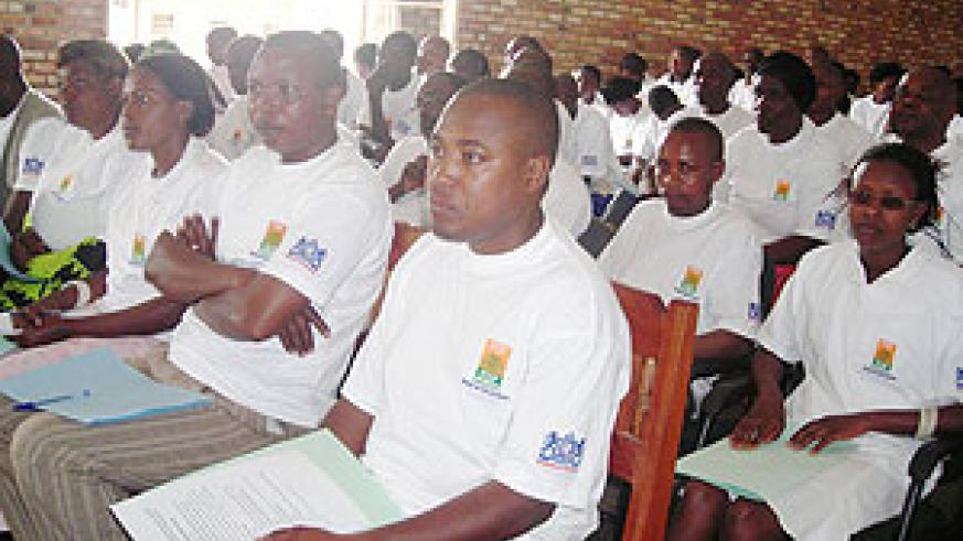 Members of the business community in Nyamagabe during a meeting organised by PSF. (Photo: P. Ntambara)