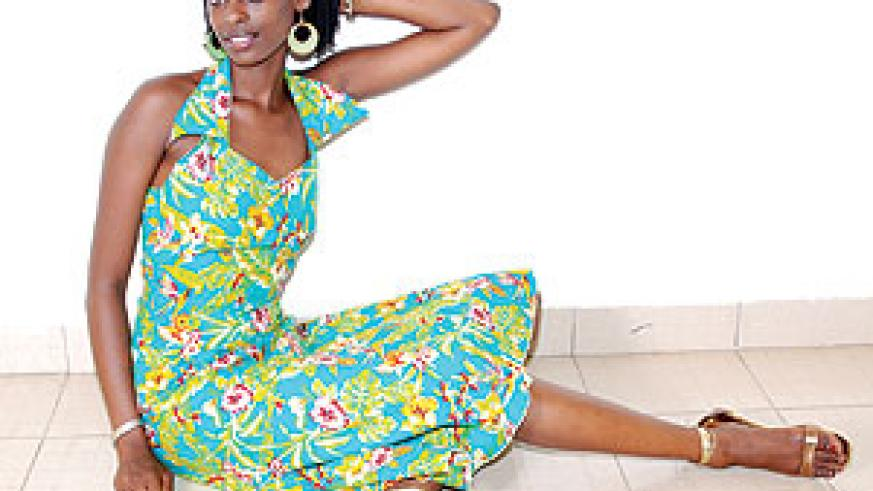 A model in a stylish relaxed dress.