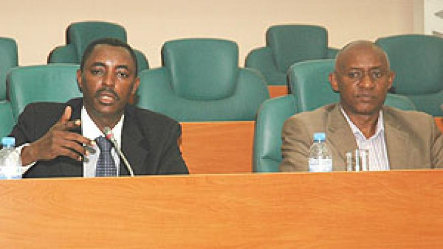 BEFORE SENATE; The Executive Secretary of CNLG, Jean de Dieu Mucyo, appearing before the Senate yesterday.