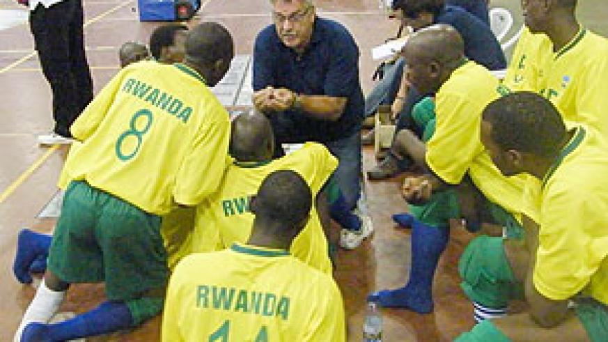 Dutch coach Jouke de Haan giving instructions to the National team during last year's Great Lakes Championship.(file photo)