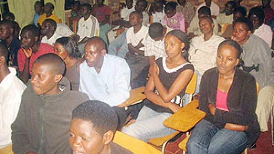 ATTENTIVE: KHI students during the discussion on reconciliation yesterday.