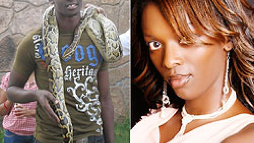 L-R: In South Africa: Meddy wraps a python around his neck, Miss JoJo