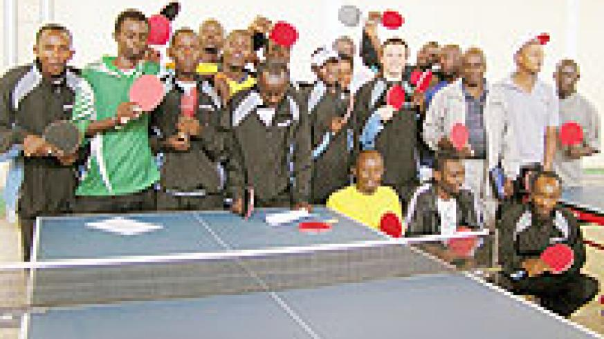 National team players during a recent training session at Amahoro stadium.The National table tennis Championship kicks off today. (File photo)