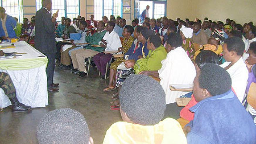 Byumba Sector Women and Youth representatives attending a workshop on Tuesday. (Photo: A. Gahene)