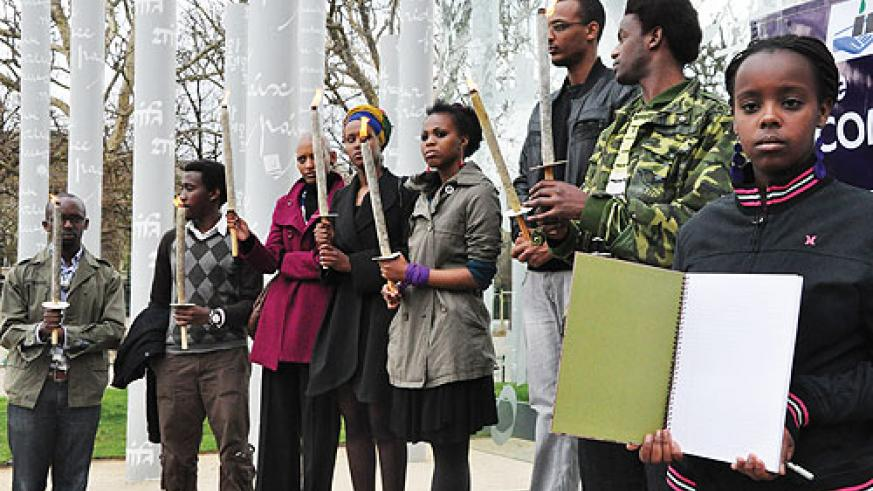 Rwandans commemorating the Genocide in Paris, France