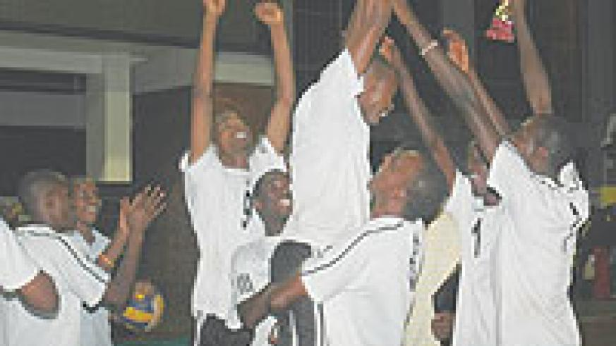 APR players jubilate after winning a sensational third  consecutive league trophy last year. Karera has been an integral member of the team since 2007. (File Photo)