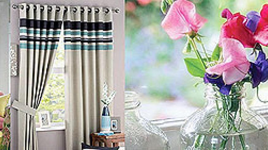 L-R : Make use of a windowsill by placing on it personal souvenirs and decorative objects ; Transform any living space with a beautiful set of curtains ; Dress up a sunny windowsill with potted plants or flowers.