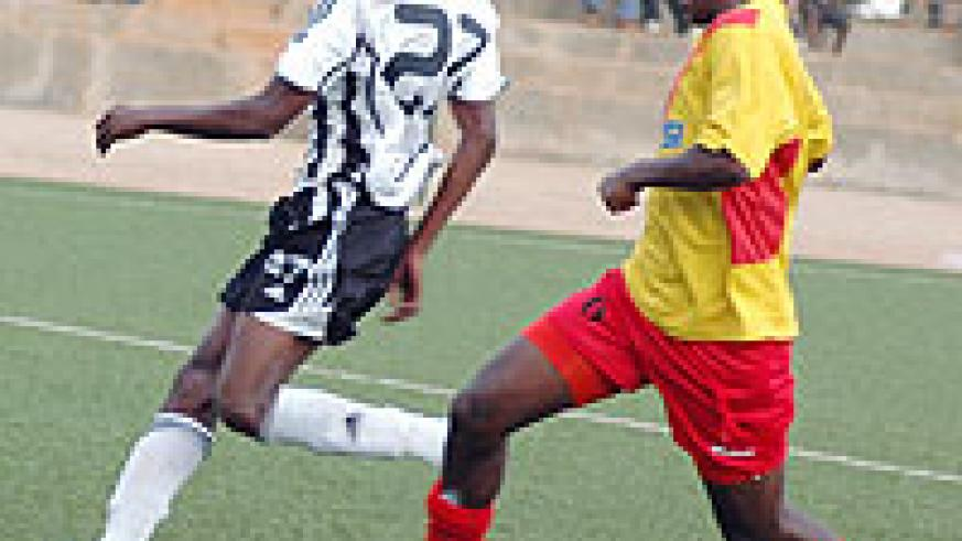 Sebabani (L) in action against Ethiopia's St. George. The striker netted his first senior hat-trick yesterday. (File photo)