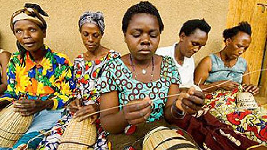 AVEGA Genocide widows making peace baskets.