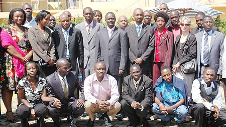 Participants at the EAC Youth Forum on Rights and Good Governance meeting at a group photo (Photo; F. Goodman)