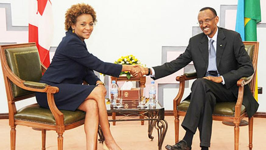 President Paul Kagame with the visiting Governor General of Canada Michaelle Jean yesterday. (Photo Urugwiro Village)