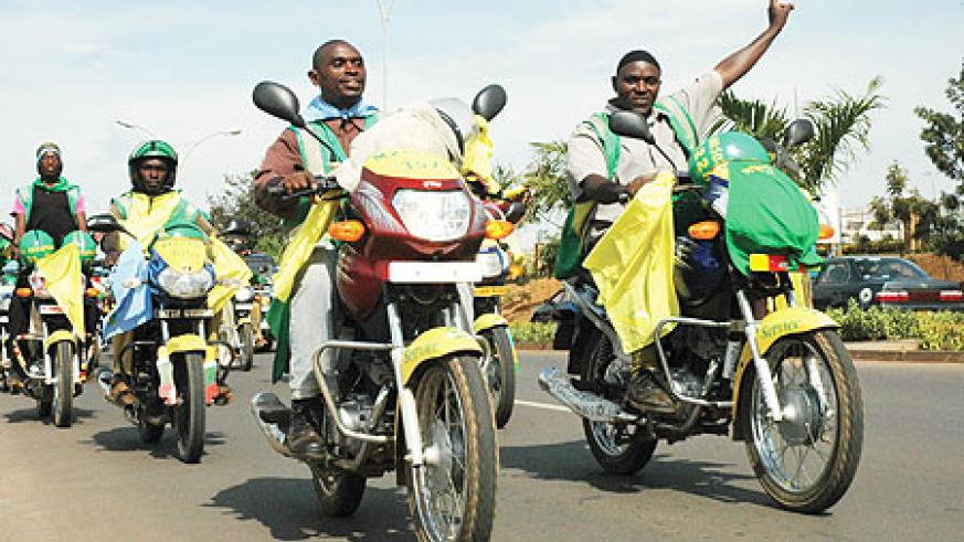 The National Electoral Commission (NEC) yesterday trained 100 motorcyclists in Kigali City on the forthcoming presidential elections. (File photo)