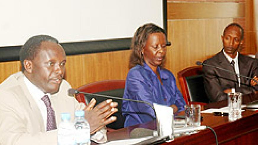 FROM LEFT TO RIGHT; Martin Ngoga, Louise Mushikiwabo and Anaclet Kalibata during the press conference yesterday (Photo; F. Goodman)