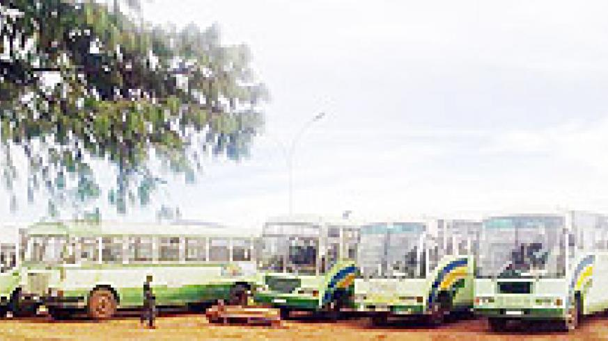 The buses which were impounded in Huye district. (File photo)