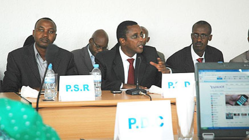 Heads of Political parties in the meeting yesterday. In the middle is Senate President Dr Vincent Biruta who heads PSD party (Photo F Goodman)