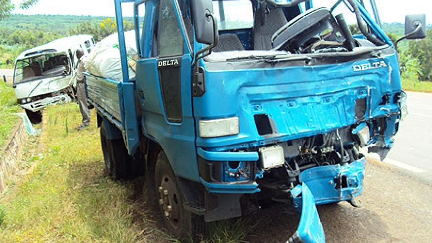 The wreckages of the two vehicles which were involved in the accident. (Photo S. Rwembeho).