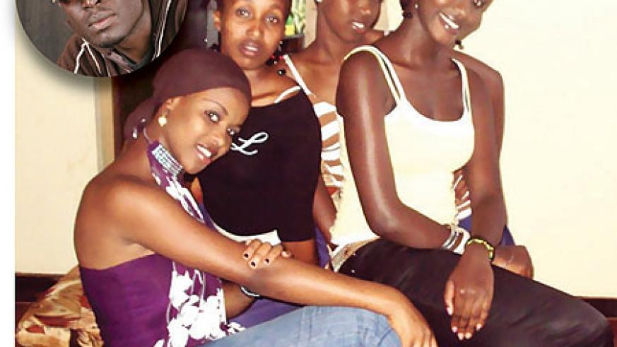 Josiane, Allioni,Yvette and Nicky make up  the J-A-V-K a female music group. Inset is Uncle Austin, the music group's manager. Photo. G.Mugoya