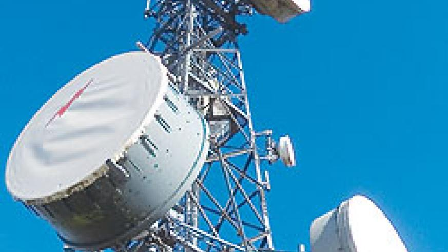 Telecom mast: Rwandatel switching from satellite connection.