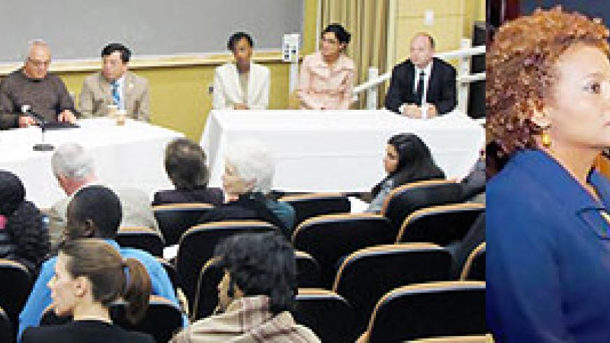 L-R : The diverse panel at the Tufts University genocide commemoration event. (Courtesy Photo) ; Governor-General Michaelle Jean visits the Kigali Memorial Centre in Rwanda on April 21, 2010.