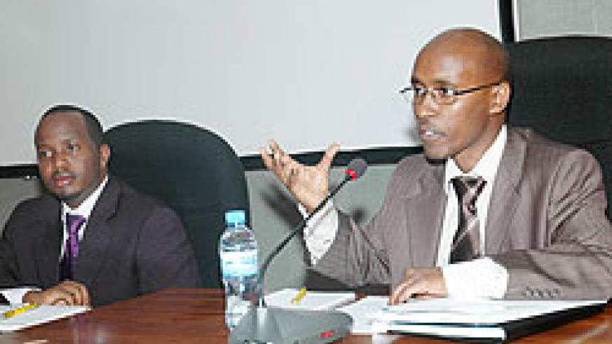 ICT Minister, Ignace Gatare, and RICTA Chairman, Geoffrey Kayonga, at the Press conference yesterday. (Photo J Mbanda)