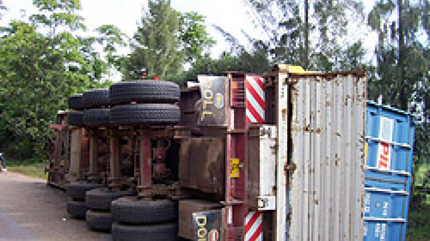The illfated mombasa bound truck involved in an accident near Gasumo farm still lying by the roadside. Photo A.Gahene