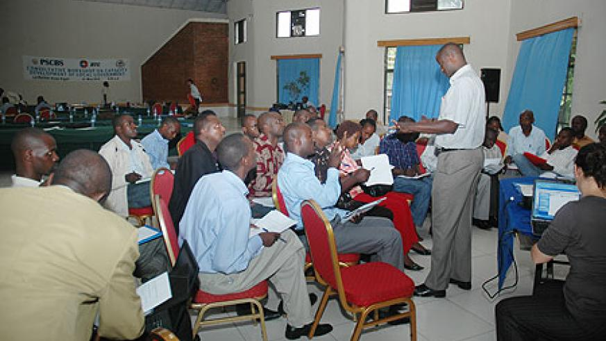District level Cooperative Management officials taking part at one of the group session. (Photo / F. Goodman)