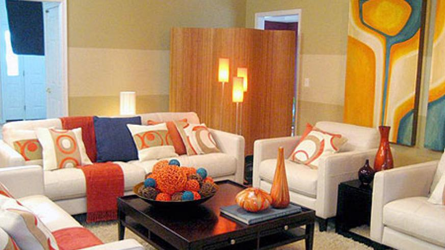 A Living Room Arrangement With Complementary Colour Scheme Neutral Base