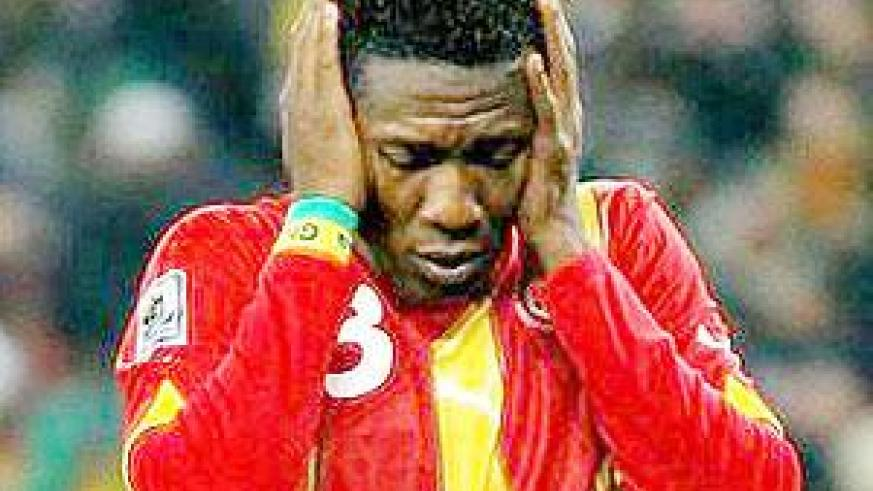 Asamoah Gyan has come under sustained criticism from fans in Ghana following the Black Stars' failure to win the continental crown. Net photo.