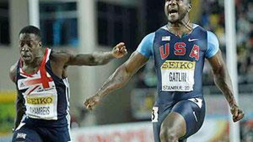Justin Gatlin celebrates winning the Men's 60m final during the World Indoor Athletics Championships in Istanbul.