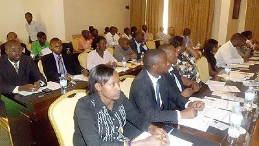 Micro finance and cooperative managers at a recent refresher training in Kigali. The New Times / File.