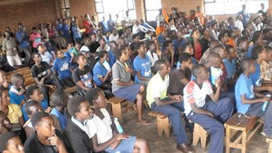A cross section of students during the debate at College Doctrina Vitae in Ndera. The New Times /Grace Mugoya.