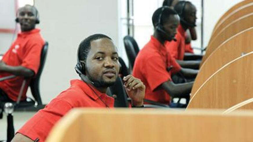 Airtel call centre employees at its headquarters in Kigali. The New Times / Timothy Kisambira.