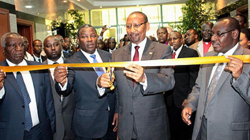 Finance Minister John Rwangobwa offically opens Equity Bank Rwanda recently. SMEs within the region will benefit from a $100 million investment. The New Times / File.