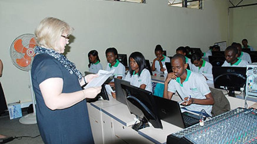 The first batch of 40 students  undergo training at the newly opened  NetHope Academy. The New Times/Courtesy.