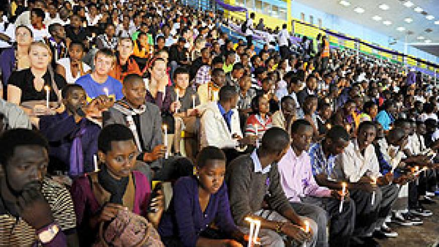 Rwandans and sympathisers at a memory service