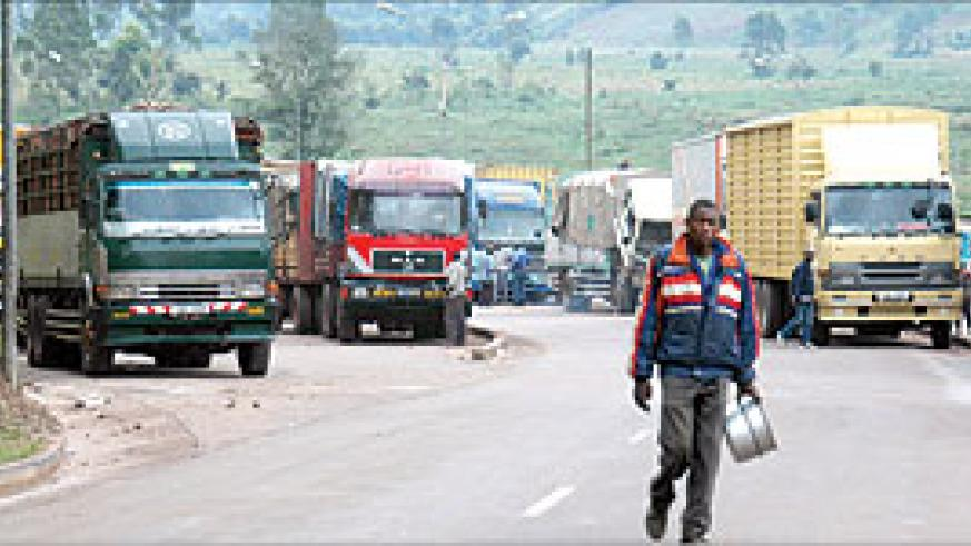 TRUCKS AWAITING CLEARANCE AT THE KATUNA BORDER POST: Regulatory reforms have eased reforms in the country. The New Times / File.