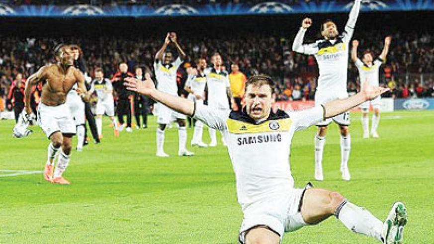 Ivanovic, who will miss the final, and his team-mates celebrate their remarkable progress. Net photo.