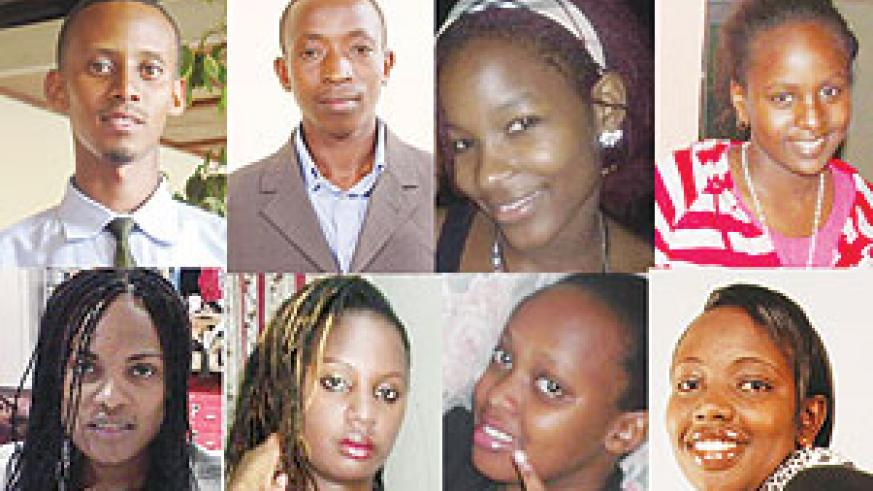 L-R ( Top row): Alex Kambada, Wilberforce Muhozi, Monica Nyakato, Amanda Kamanzi. L-R( Bottom row):  Faith Amolo Alaba,Dauphine Mutoni, Veronica Tindichebwa ,  Sophie Ingabire