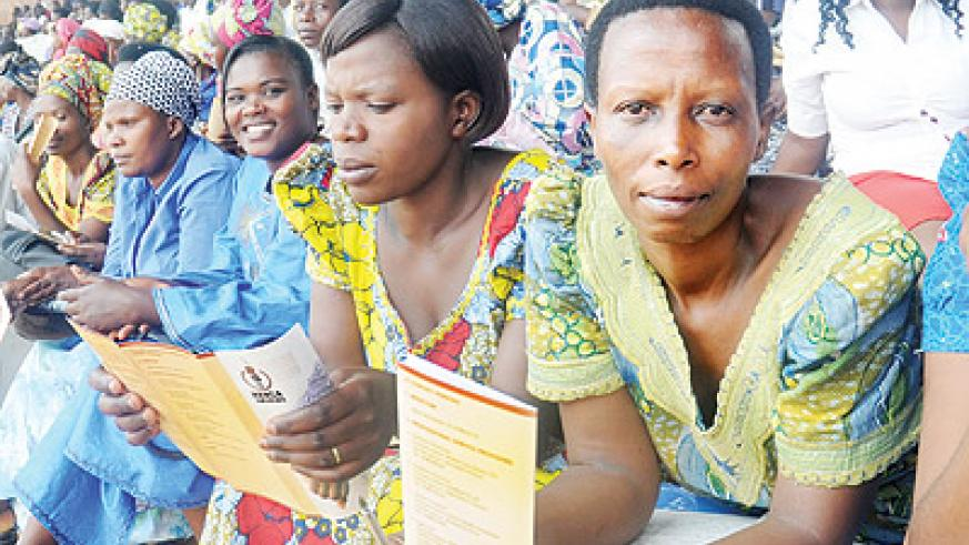 Women at an entrepreneurship meeting. Rural women have expressed appetite for investment capital.  The New Times / File.