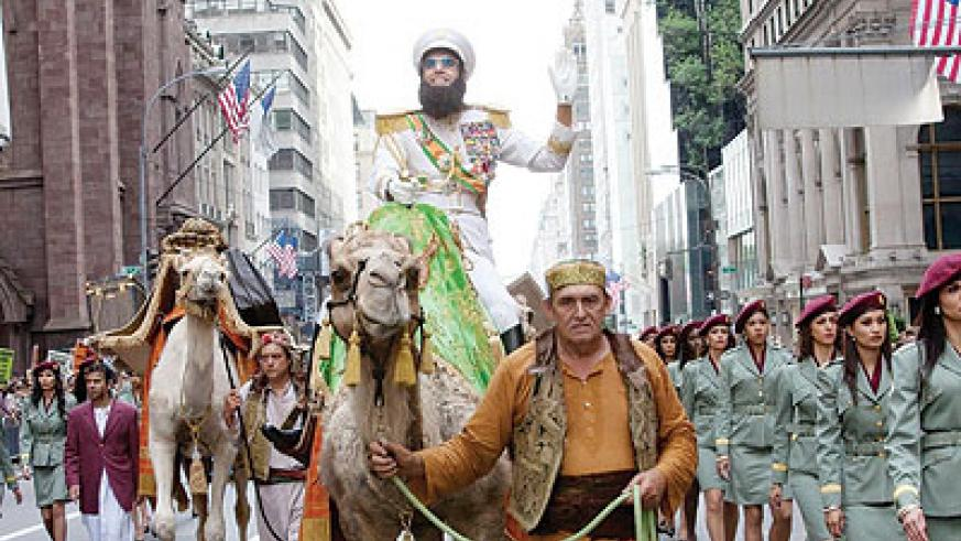 "Parade being led through New York in ""The Dictator"". Net photo."