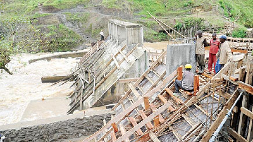 Work on Mukungwa II hydro power project in Musanze District. The New Times / J. Mbanda.