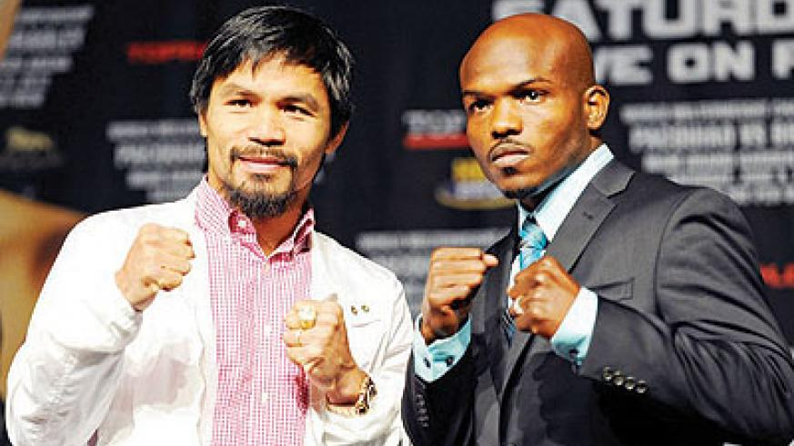 Pacquiao (L) will defend his WBO welterweight title against Bradley when the two meet in the ring Saturday night in Las Vegas.  Net photo.