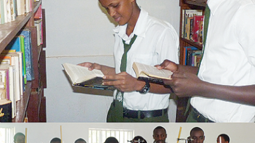 King David students in the school's library (top) and laboratory. The New Times / B. Muhumuza.
